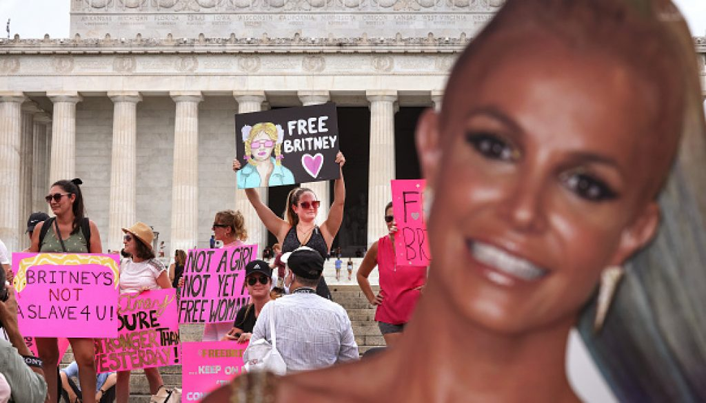 Supporters of pop star Britney Spears participate in a #FreeBritney rally at the Lincoln memorial on July 14, 2021 in Washington, DC.